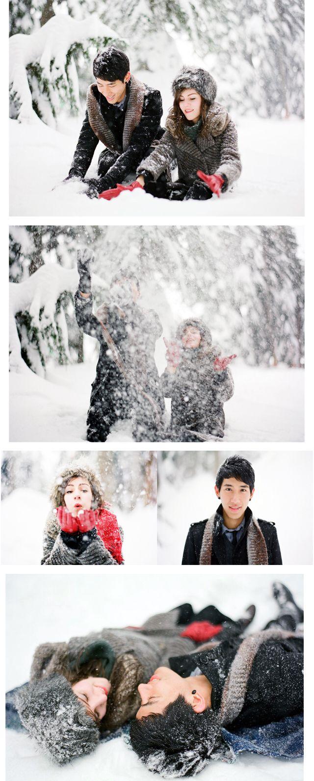 Játékos téli eljegyzési fotók.