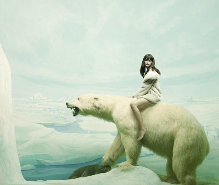 nő és jegesmedve